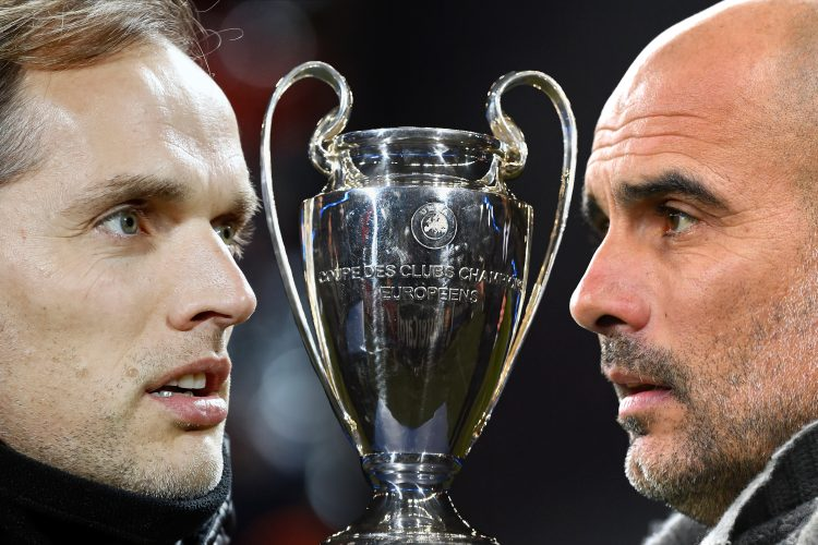 Thomas Tuchel, Manager of Chelsea (L) and Josep Guardiola, Manager of Manchester City Tuhel Gvardiola