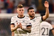 Germany's Toni Kroos applauds fans after the match kros