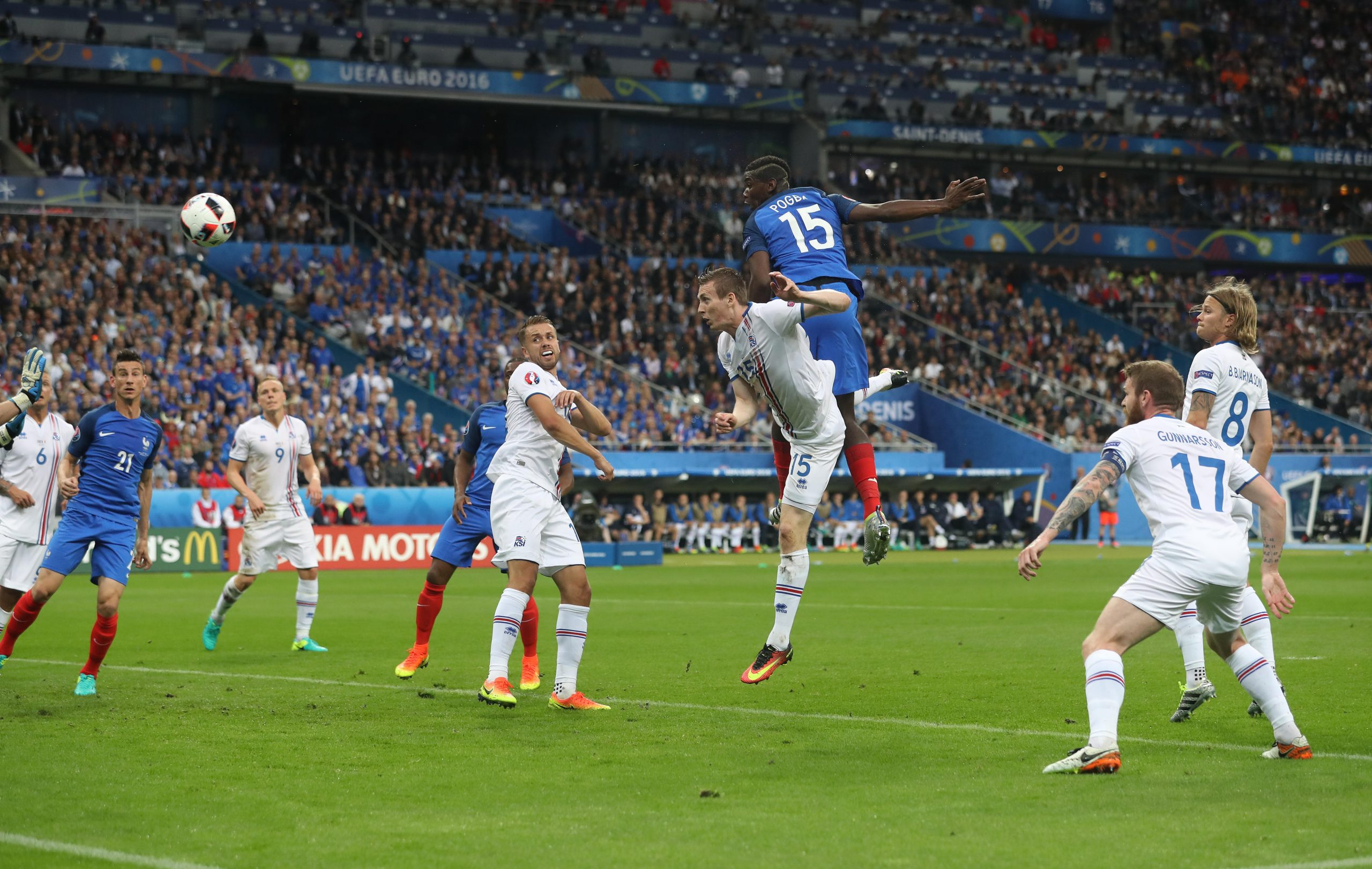 Paul Pogba of France scores his goal, France's second during the UEFA European Championship 2016 match at the Stade de France, Paris. Picture date July 03