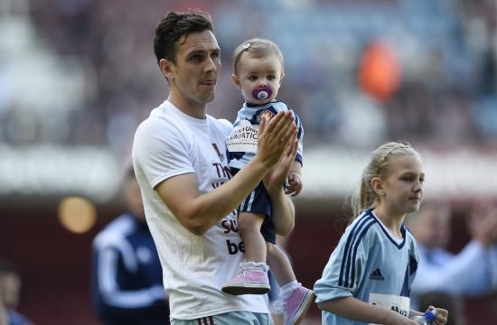 Stjuart Dauning Stewart Downing with family during the lap of honour at the end of the match