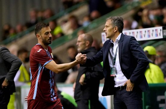 Rijeka manager Goran Tomic right during the UEFA Europa Conference League Third Qualifying Round