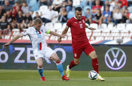 Soccer Football - World Cup - UEFA Qualifiers - Group A - Serbia v Luxembourg - Rajko Mitic Stadium, Belgrade, Serbia - September 4, 2021 Luxembourg's Laurent Jans in action with Serbia's Filip Kostic Srbija