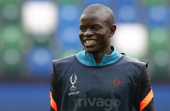 Chelsea's N'Golo Kante during training