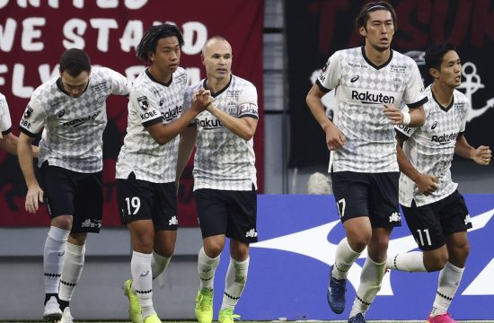 Spanish footballer Andres Iniesta of Vissel Kobe (C) celebrates after scoring by PK in the second half of the of the Meiji Yasuda J1 League official match against Nagoya Grampus Eight at Toyota Stadium in Toyota City, Aichi Prefecture on October 24, 2021.
